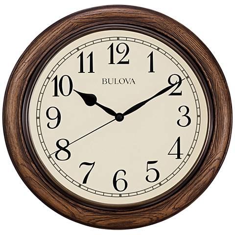 "Bulova Oakbrook Dark Oak Wood 16"" Round Wall Clock"