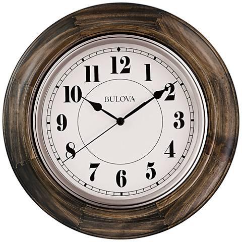 "Bulova Albany Dark Cherry Wood 16"" Round Wall Clock"