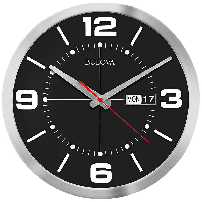 """Bulova Calandar Silver Aluminum 14"""" Round Wall Clock"""