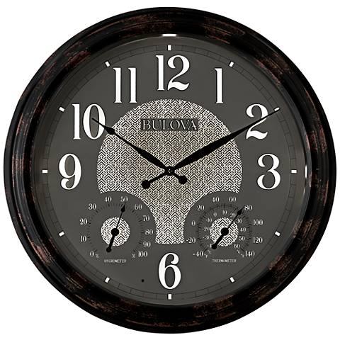 "Bulova Weather Mate Copper Metal 22"" Round Wall Clock"