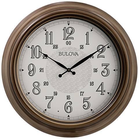 "Bulova Key West Brown Metal 24"" Round Wall Clock"