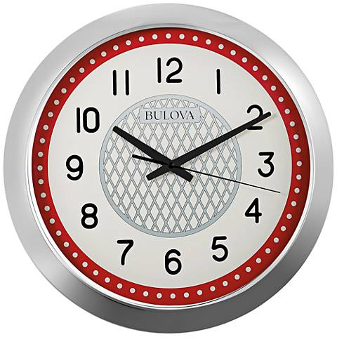 "Bulova Juke Box Silver Molded 16"" Round Wall Clock"