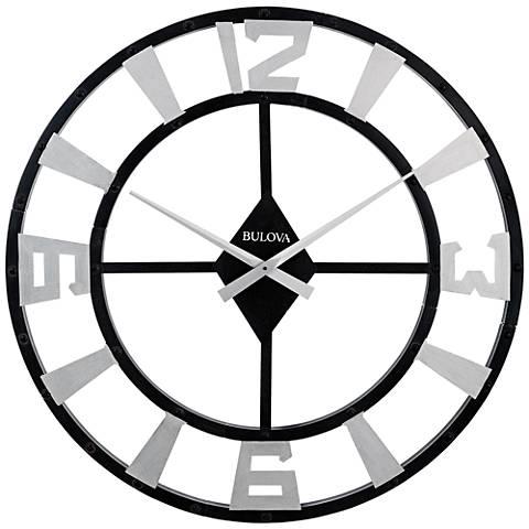 "Bulova Gotham Black Metal 36"" Round Wall Clock"