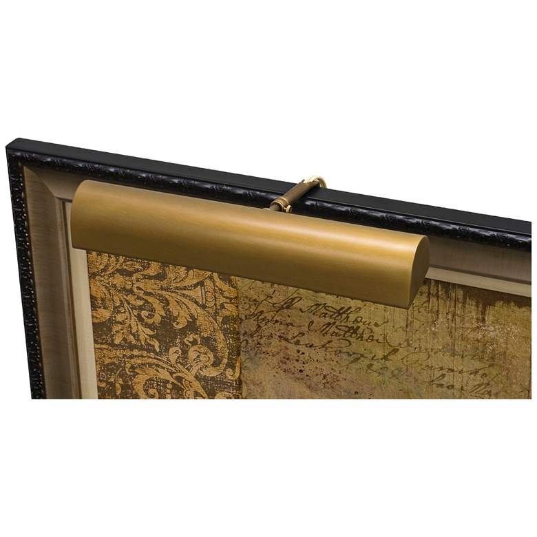 """Traditional 14"""" Wide Weathered Brass LED Picture Light"""