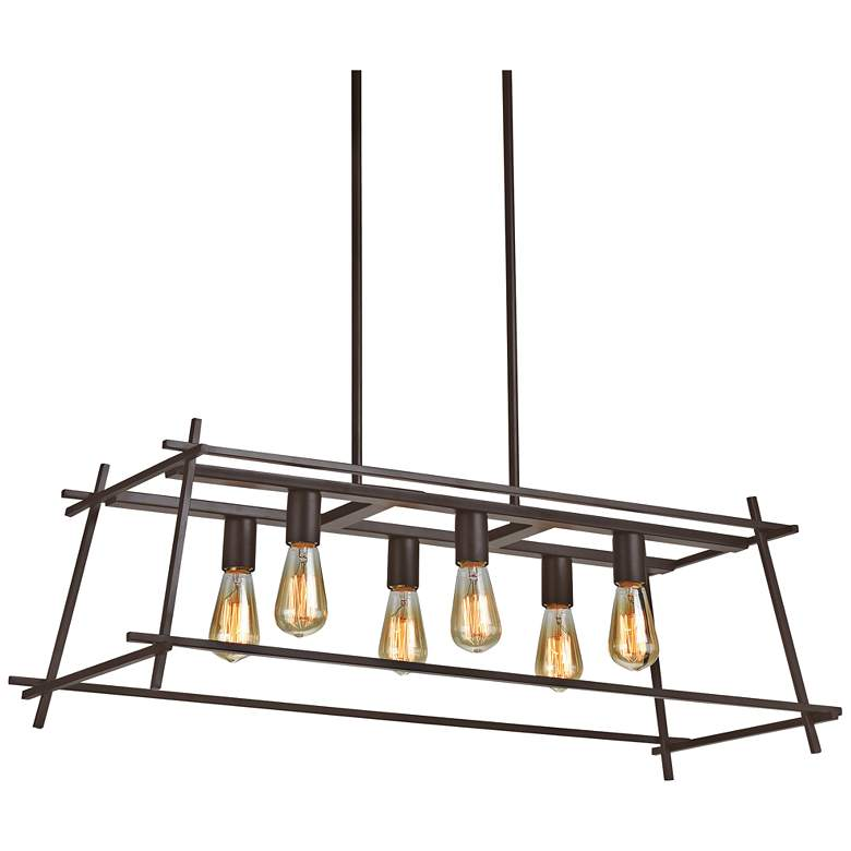 "Hashtag 36""W New Bronze 6-Light Kitchen Island Light Pendant"