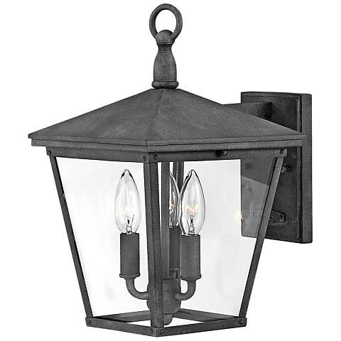 """Trellis 14 3/4"""" High Aged Zinc 3-Light Outdoor Wall Light"""