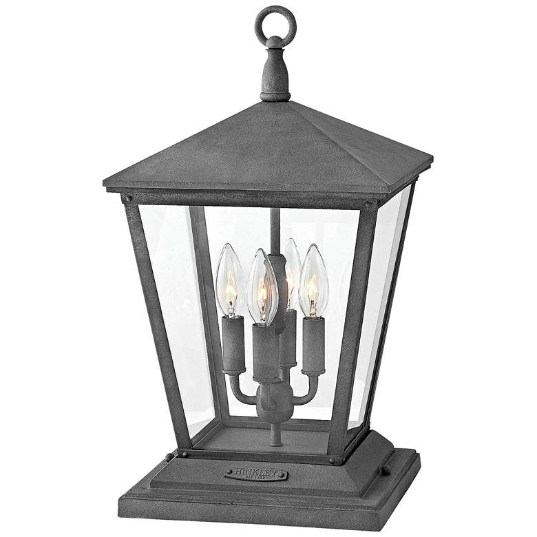 "Trellis 19 3/4"" High Aged Zinc Outdoor Pier Mount Light"
