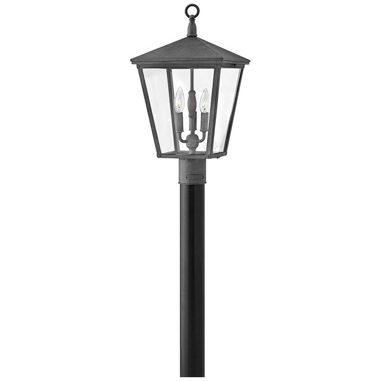"Hinkley Trellis 21""H Aged Zinc 3-Light Outdoor Post"