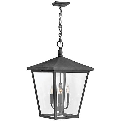 "Trellis 31 1/4"" High Aged Zinc 4-Light Outdoor Hanging Light"