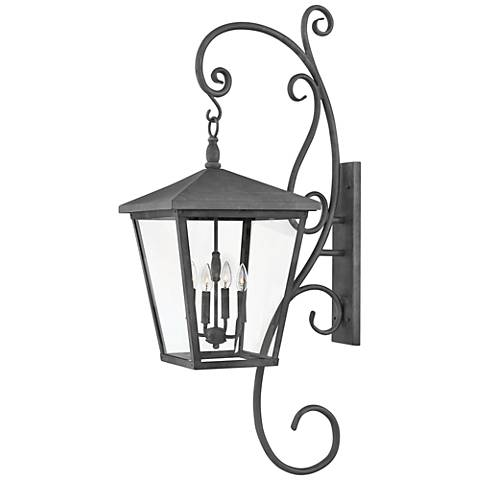 "Hinkley Trellis 52""H Aged Zinc 4-Light Outdoor Wall Light"