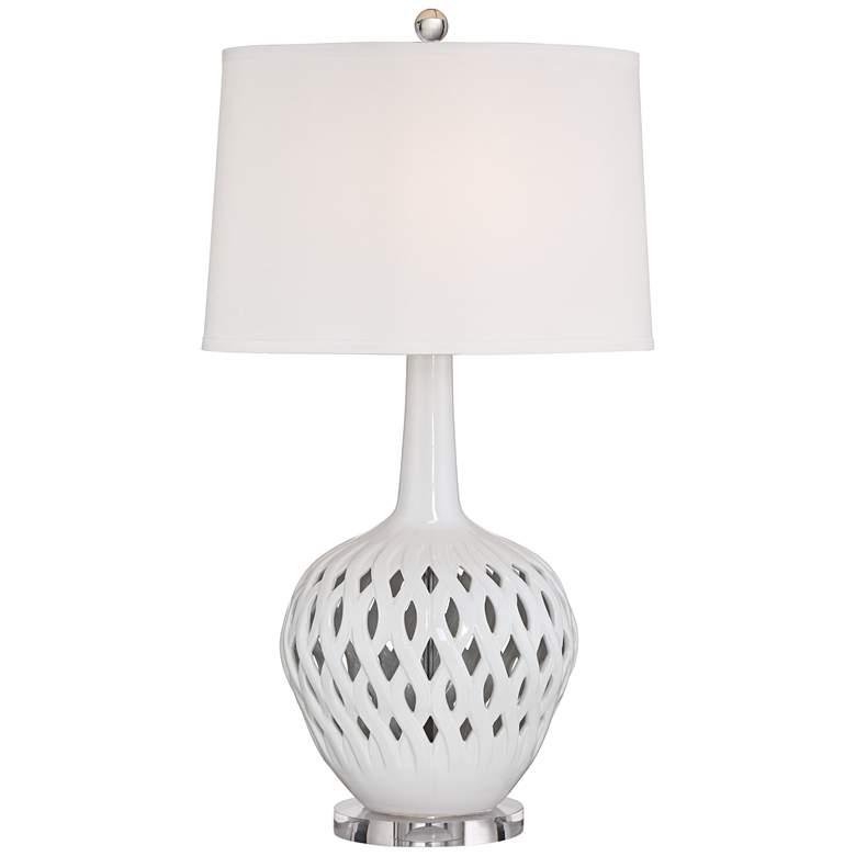 Possini Euro Marina White Ceramic Table Lamp