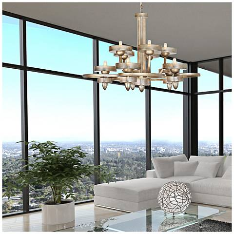 """Applause 38"""" Wide Tiffany Gold 10-Light Ovation Chandelier"""