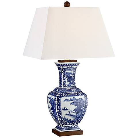 Leah Blue and White Ceramic Table Lamp