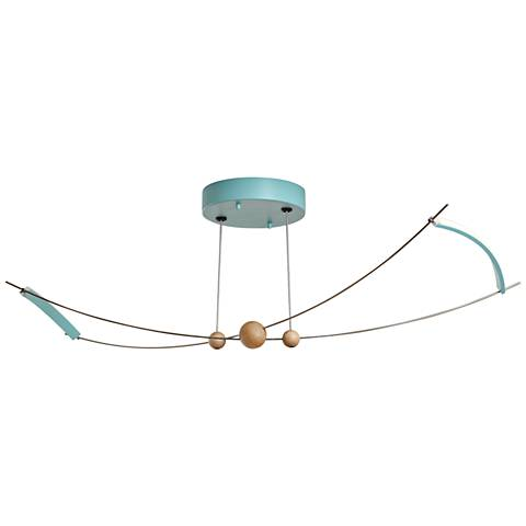 "Copernicus 11"" Wide Satin Aqua LED Ceiling Light"