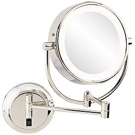 Neomodern 1 3 4 Polished Nickel Led Wall Makeup Mirror