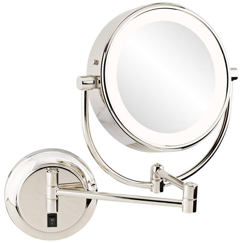 Neomodern Polished Nickel LED Wall Makeup Mirror