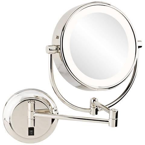 "Neomodern 1 3/4"" Polished Nickel LED Wall Makeup Mirror"