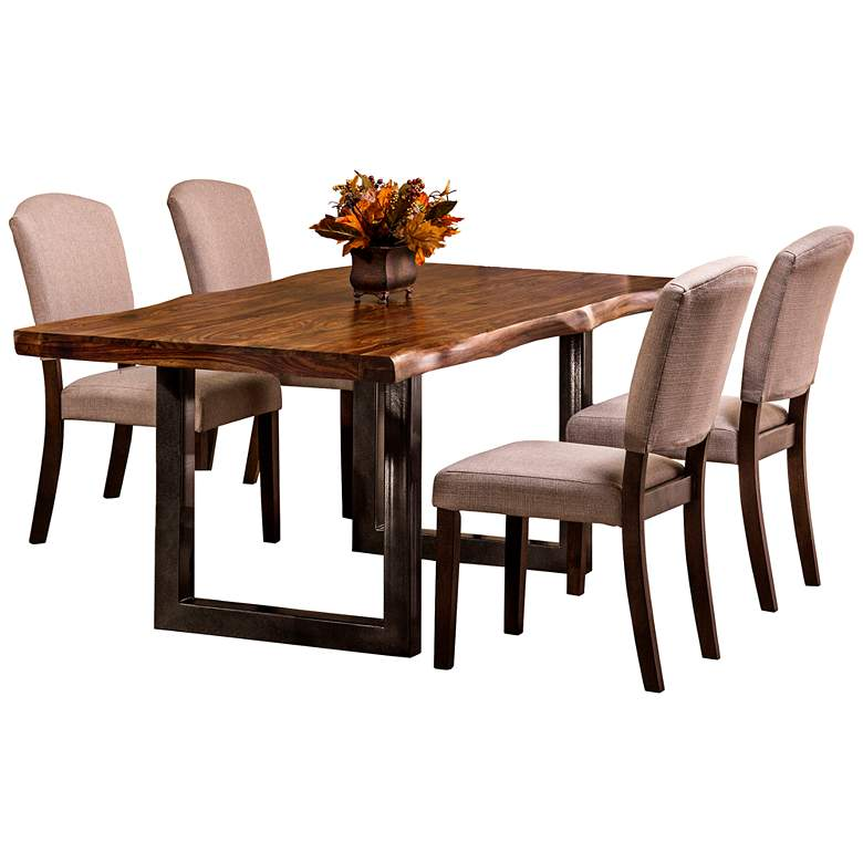 "Emerson 80"" Wide Natural Wood 5-Piece Dining Set"
