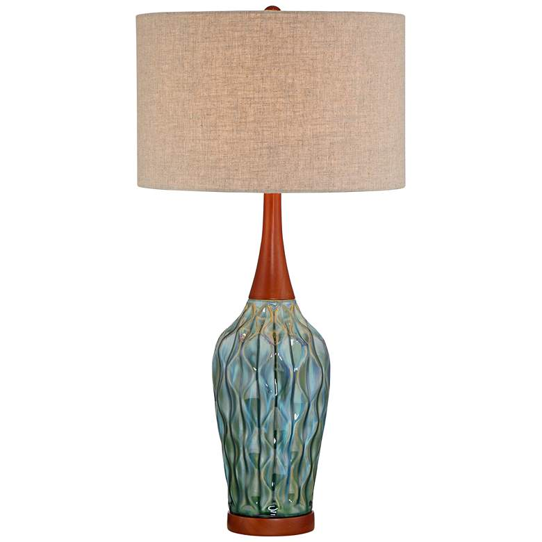 "Rocco 30"" High Mid-Century Modern Blue Ceramic Table Lamp"