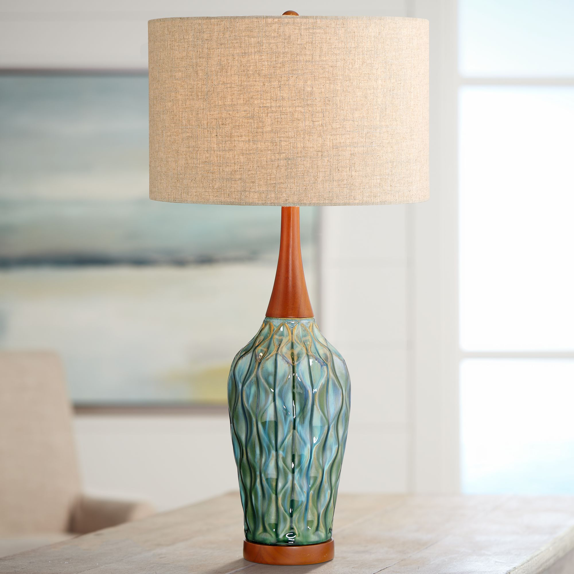 Details About Mid Century Modern Table Lamp Ceramic Blue Wood For Living Room Bedroom