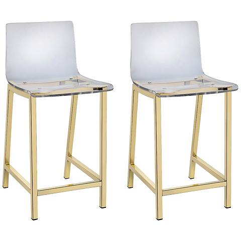 """Tasker 24"""" Gold and Acrylic Counter Stool Set of 2"""