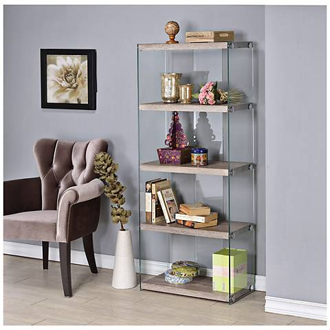 Millenial Avery Wood and Glass Book Shelf