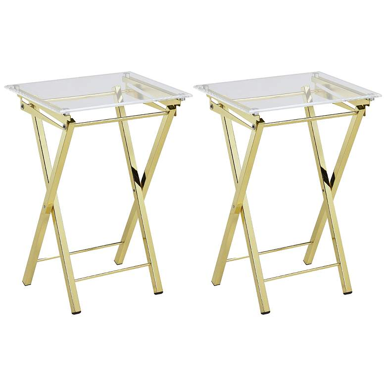 """Mari 20"""" Wide Clear and Gold Folding TV Tables - Set of 2"""