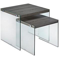 Millenial Upton Gray and Glass 2-Piece Nesting Table Set