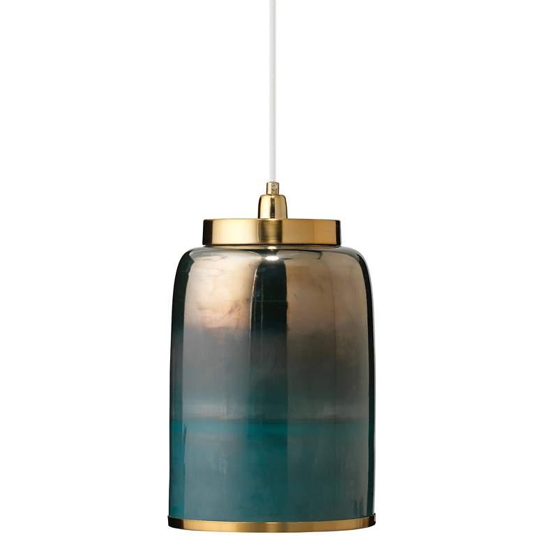 """Vapor 8 1/2"""" Wide Aqua Metallic Glass Medium Mini Pendant"""