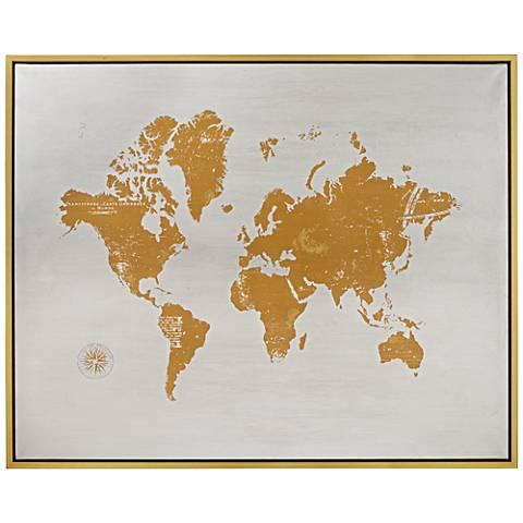 """Terra Mundo 53"""" Wide Gold Framed Canvas Wall Art"""