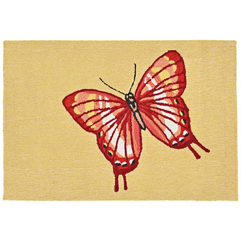 Frontporch Butterfly 181424 Red Outdoor Area Rug