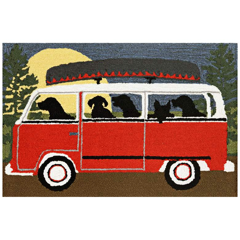 """Frontporch Camping Trip 147424 2'6""""x4' Red Outdoor Area Rug"""