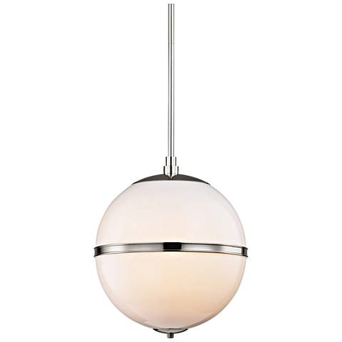 "Crystorama Truax 16"" Wide Polished Nickel Pendant Light"