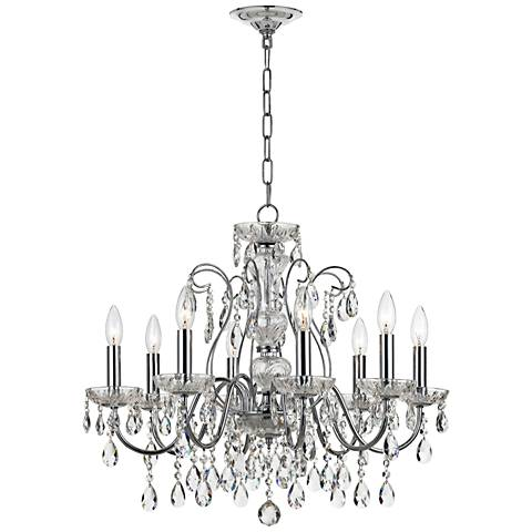"""Traditional Crystal 25 1/2"""" Wide Chrome 8-Light Chandelier"""