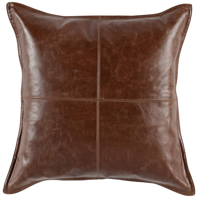 """Brown Leather 22"""" Square Decorative Pillow"""