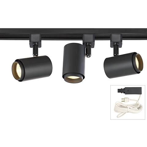 LED Cylinder Black 3-Light Plug-In Linear Track Kit
