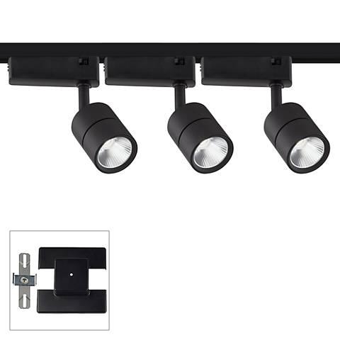 Linder 3-Light Black LED Track Kit with Floating Canopy