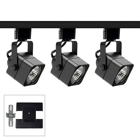 Trac-Lite 3-Light Black Cast Cube Floating Canopy Track Kit