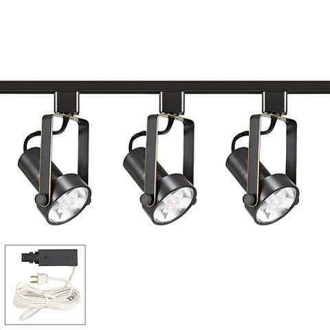 Riley 12W 3-Light Dark Bronze LED Plug-In Linear Track Kit