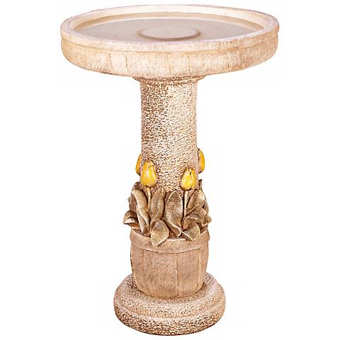 "Henri Studio 24"" High Tulip Cast Stone Bird Bath"
