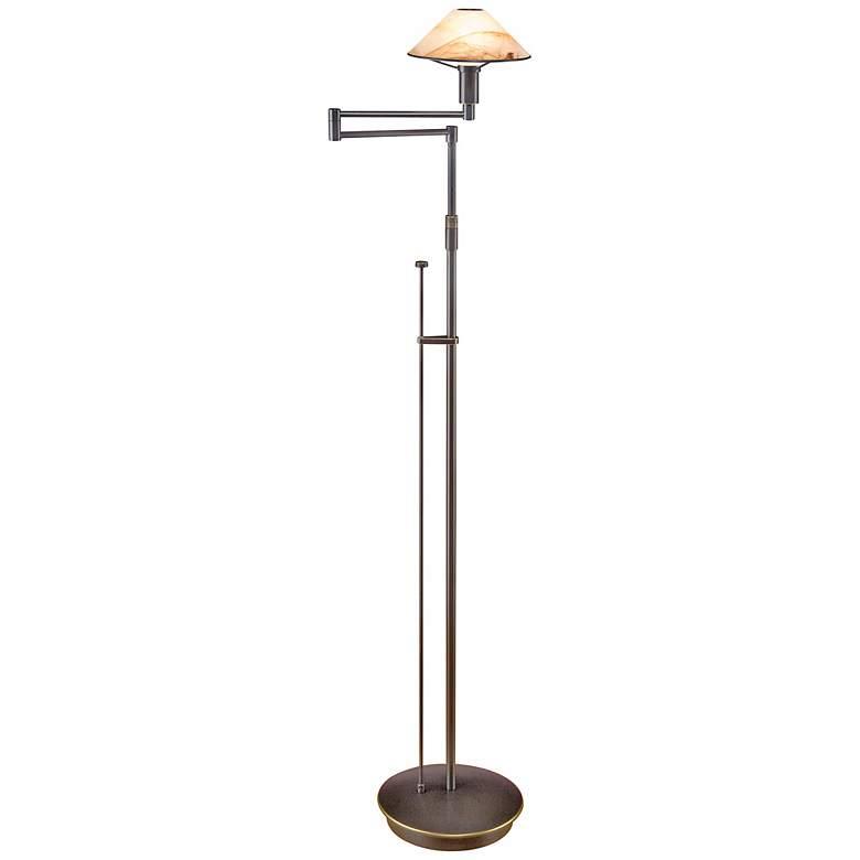 Holtkoetter Bronze and Alabaster Glass Adjustable Floor Lamp