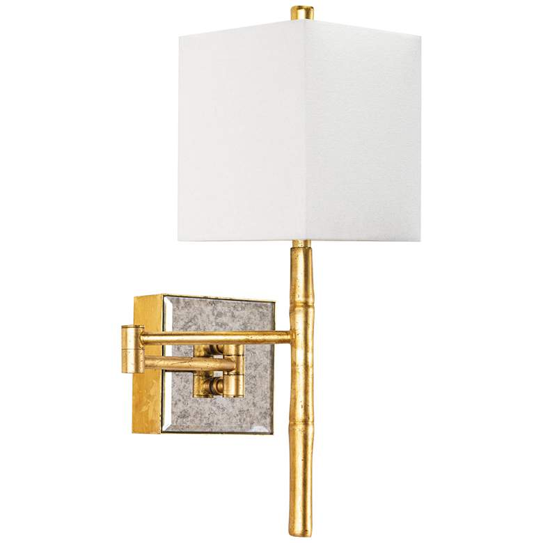 "Regina Andrew Sarina 17 1/2"" High Gold Leaf Bamboo Swing-Arm Sconce"