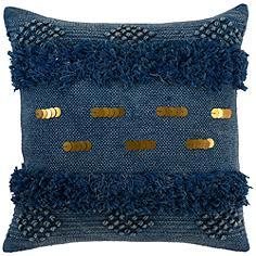 "Seine Ink Blue 22"" Square Decorative Pillow"