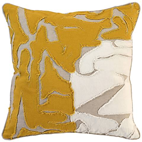 "Jemma Ochre 22"" Square Decorative Pillow"