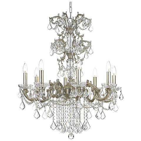 "Crystorama Highland Park 28""W Olde Silver 8-Light Chandelier"