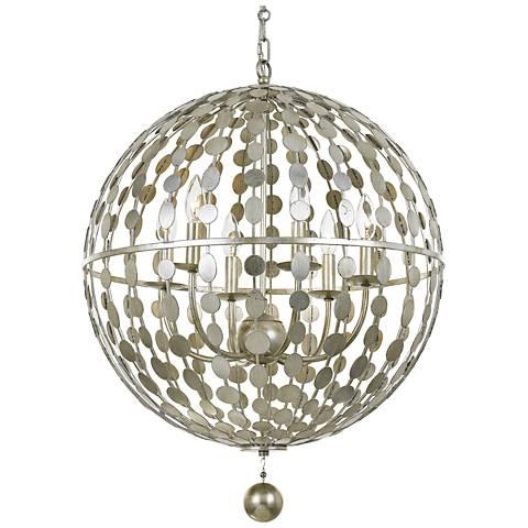 "Crystorama Layla 22"" Wide Antique Silver 6-Light Pendant"