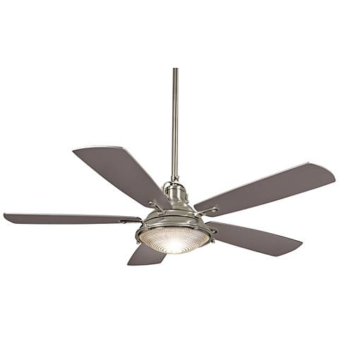 """56"""" Minka Aire Groton Brushed Nickel Outdoor Ceiling Fan"""