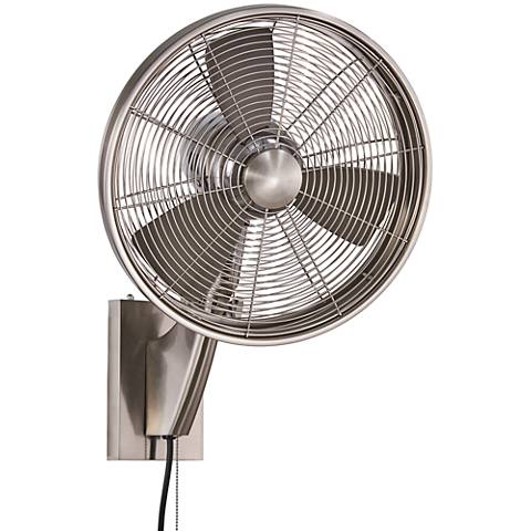 """15"""" Minka Aire Anywhere Brushed Nickel Oscillating Wall Fan"""