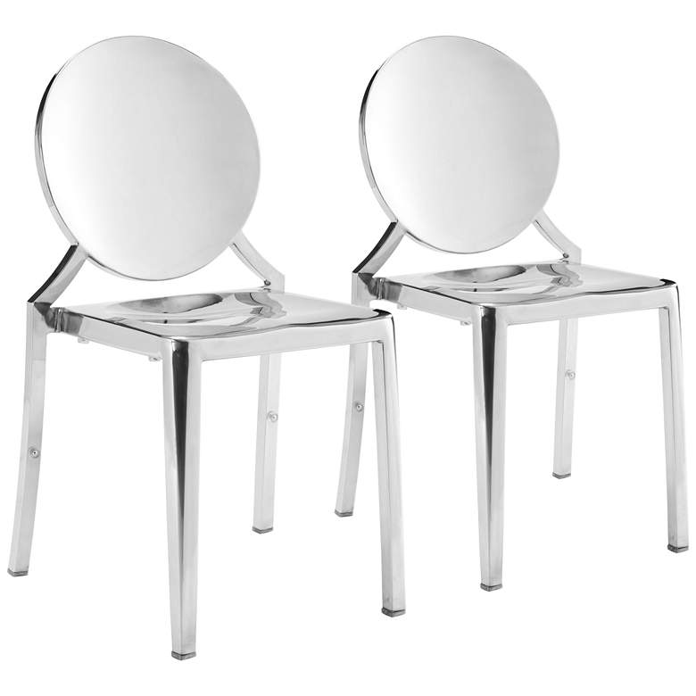 Zuo Eclipse Stainless Steel Dining Chairs Set of 2