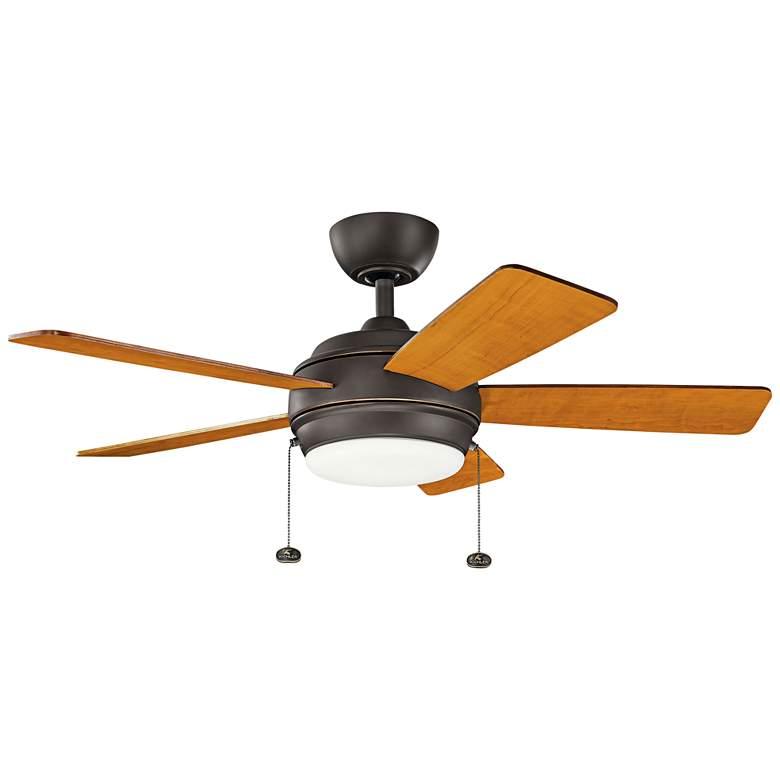 """42"""" Kichler Starkk Olde Bronze LED Pull Chain Ceiling Fan"""